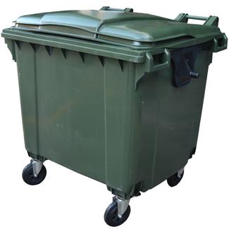 Imagen de Contenedor de Basura de 1100 litros Verde 4 Ruedas